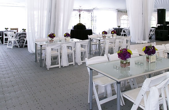 FastDeck 1.0 as the floor in a tent at an event